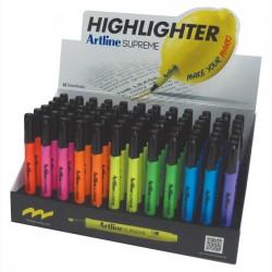 Display ARTLINE textmarker Supreme 1-4mm, 5 cul x 12 buc + 2 cul x 6 buc/display - diverse culori