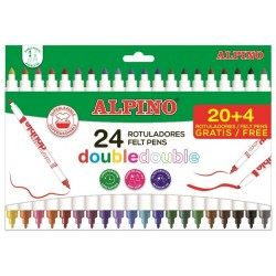 Carioca cu 2 capete, varf subtire/gros, 24 culori/set, ALPINO Double