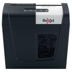 Distrugator documente manual REXEL SECURE MC3, P5, micro-cut (particule), 3 coli, 10l, negru-arginti