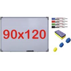 Pachet Tabla alba magnetica, 90x120 cm Premium + accesorii: markere, burete, magneti (7 ani Garantie)