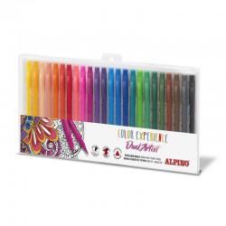 Carioca cu 2 capete, varf liner 0.7mm/tip pensula, 24 culori/set, ALPINO Color Experience