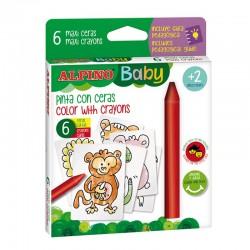 Creioane cerate, 6 culori/set, 6 carduri cu animale, pt. colorat, ALPINO Baby