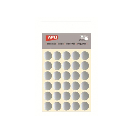 Etichete autoadezive Apli rotunde, 3 coli/set, 90 etichete/set, 20mm, argintii