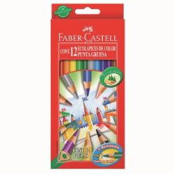 Creioane Colorate Triunghiulare 12 culori Mina Groasa Eco Faber-Castell