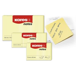 Notes Adeziv 50x75 mm Galben Pal 100 File Kores