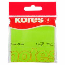 Notes Adeziv 75 x 75 mm verde neon 100 File Kores
