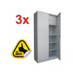 3x FISET METALIC CU 3 RAFTURI SI SEIF 900x400x1800 mm (LxlxH), 35 kg/polita, ECO+