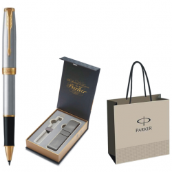 ROLLER PARKER SONNET ROYAL Stainless Steel GT+CUTIE PT. CADOU BRITISH COLLECTION CU ETUI, model 1+PUNGA PT. CADOU