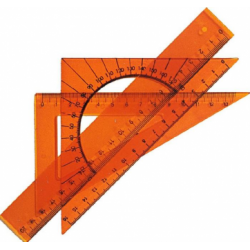 Set geometrie Maxx, format din rigla 20 cm, 2 echere, raportor