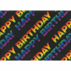 HARTIE IMPACHETAT 2M*70CM NEAGRA HAPPY BIRTHDAY