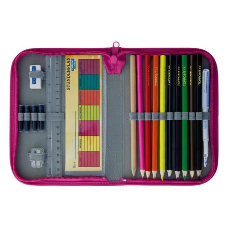 Penar echipat, 19 componente, contine 9 creioane colorate, ascutitoare, radiera, rigla 17 cm, orar,