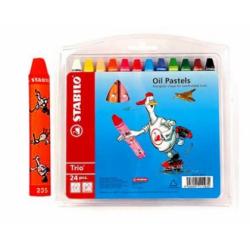 Creioane colorate cerate Stabilo Oil Pastel, 12 culori/cutie