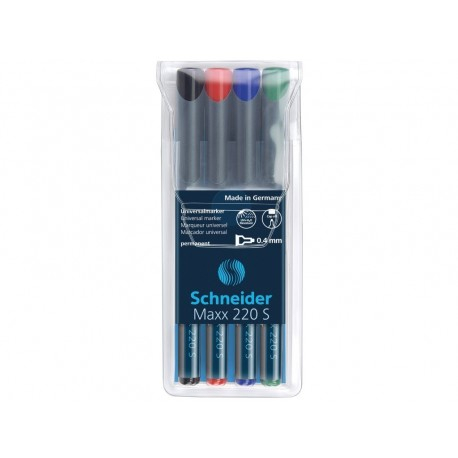 SET 4 MARKER PERMANENT OHP SCHNEIDER 220S, 0,4 mm