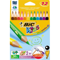 Creioane colorate Bic Evolution, triunghiulare, 12 bucati/set