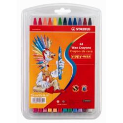 Creioane cerate Stabilo Yippy Wax, 24 bucati/blister