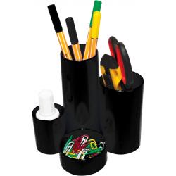 Suport instrumente de scris Flaro, 4 compartimente, negru