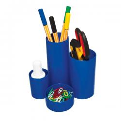 Suport instrumente de scris Flaro, 4 compartimente, albastru