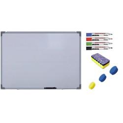 Pachet Tabla alba magnetica, 90x120 cm Premium + accesorii: markere, burete, magneti