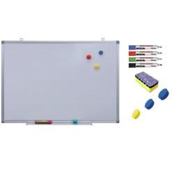 Pachet Tabla alba magnetica, 100x200 cm Premium + accesorii: markere, burete, magneti