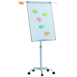 Flipchart mobil, Premium, 70x100 cm, brate laterale, inaltime ajustabila, clema prindere hartie