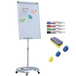 Flipchart mobil, Premium, 70x100 cm, inaltime ajustabila + accesorii: markere, burete, magneti