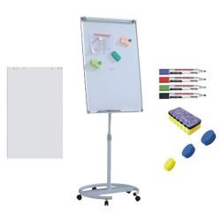 Flipchart mobil, Premium, 70x100 cm, inaltime ajustabila + accesorii: hartie flipchart, markere, burete, magneti